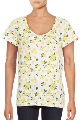 Lord & Taylor Short Sleeve V-Neck Printed Slub Tee $28 thestylecure.com