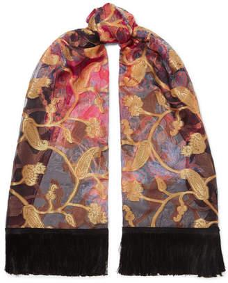 Etro Tasseled Silk-blend Jacquard Scarf - Black