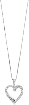 Diamond Splendor Sterling Silver Crystal Open Heart Pendant Necklace