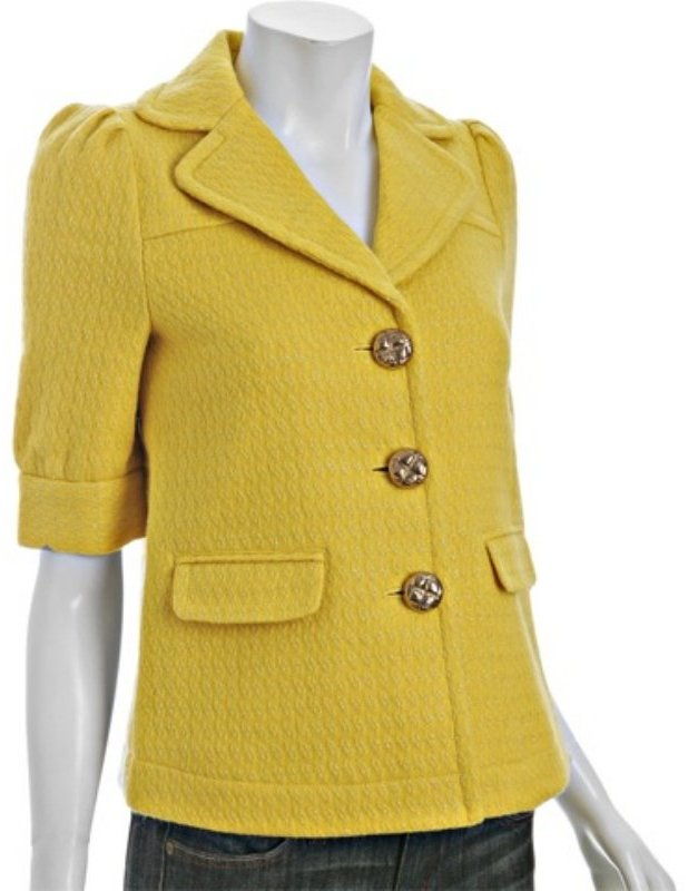 Juicy Couture golden yellow metallic wool 'Glim' blazer