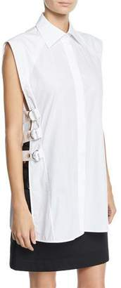 Helmut Lang Pointed-Collar Blouse w/ Side Buckles
