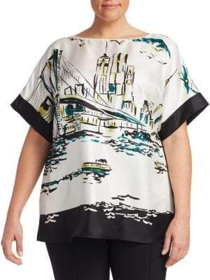 Lafayette 148 New York Lafayette 148 New York, Plus Size Plus Manhattan Vista Silk Karleya Blouse