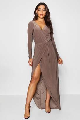 boohoo Slinky Wrap Top Maxi Dress