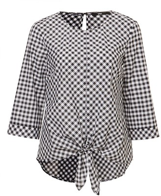 Gingham Tie Front Blouse
