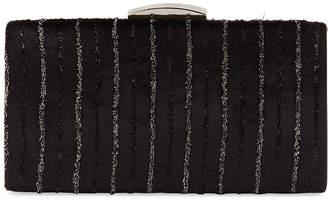 Neiman Marcus Velvet Metallic Stripe Minaudiere box clutch