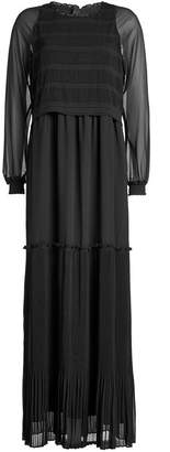 Steffen Schraut Pleated Dress with Sheer Sleeves