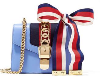Gucci Sylvie Mini Chain-embellished Leather Shoulder Bag - Blue