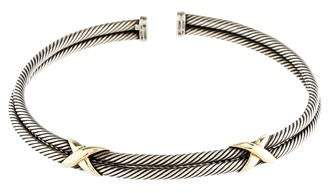 David Yurman Double Row X Cable Choker Necklace