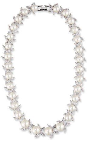 Fallon Monarch Crystal & Pearly Bead Choker Necklace