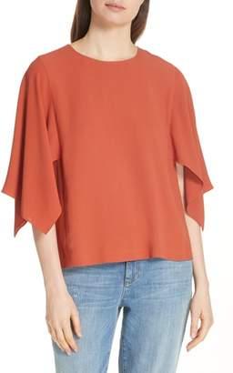 Eileen Fisher Slit Sleeve Silk Top