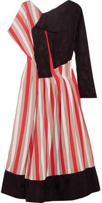 Paneled Striped Crepe And Jacquard Midi Dress - Red