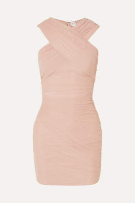 Herve Leger Off-the-shoulder Wrap-effect Ruched Tulle And Bandage Dress - Beige