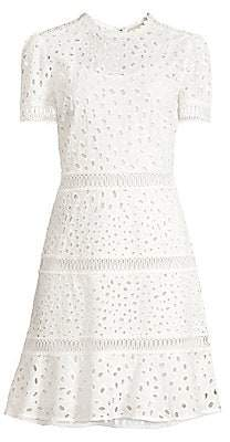 MICHAEL Michael Kors Women's Short Sleeve Eyelet Flare Dress
