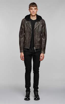 Mackage MAGNUS sleek leather biker jacket with jersey hood