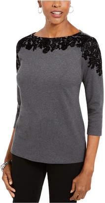 Karen Scott Placed-Print 3/4-Sleeve Top
