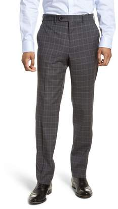 JB Britches Flat Front Plaid Wool Trousers