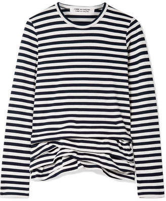 Comme des Garcons Ruffled Striped Cotton-jersey Top - Midnight blue