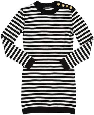 Balmain Striped Cotton Sweater Dress