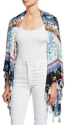 Johnny Was Invo Floral-Print Silk Shrug with Tassels