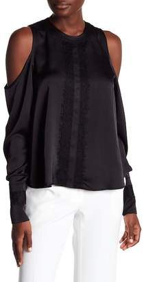 Laundry by Shelli Segal Lace Trim Cold Shoulder Top