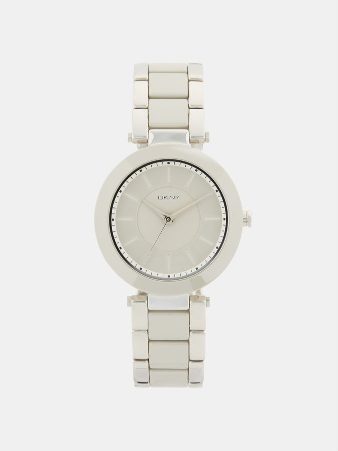 DKNY Stanhope Grey Ceramic And Silver-Tone 3 Hand Watch
