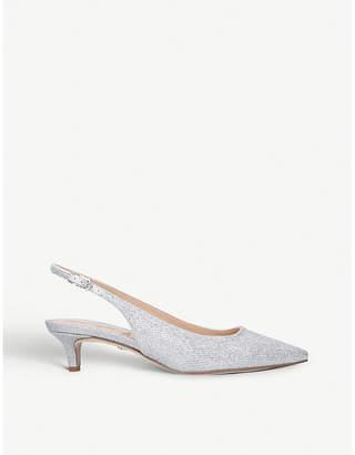Sam Edelman Ludlow metallic-mesh slingback kitten heels