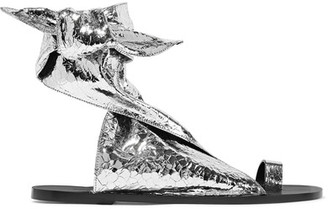 Maheo Metallic Textured-leather Sandals - Silver