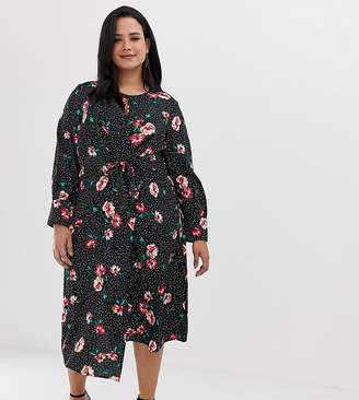 42173c2fcd Influence Plus knot front asymmetric wrap dress in floral and polka dot  print