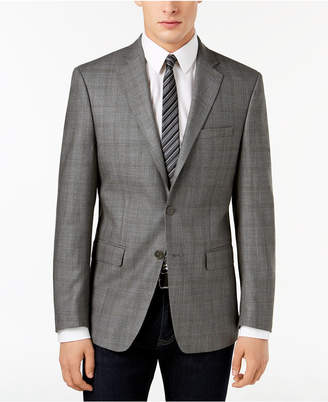 Calvin Klein Closeout! Men's Slim-Fit Gray/Brown Windowpane Silk and Wool Sport Coat