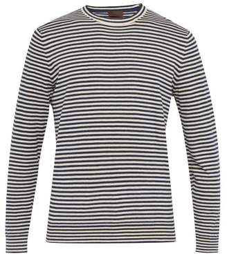 Altea Striped Linen Blend Sweater - Mens - Navy White