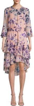 Eliza J Floral Bell Sleeve Smocked Tiered Dress