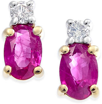 Macy's Ruby (1-1/5 ct. t.w.) & Diamond (1/10 ct. t.w.) Stud Earrings in 14k Gold