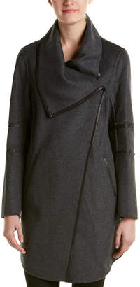 Mackage Nelia Leather-Trim Wool-Blend Draped Coat