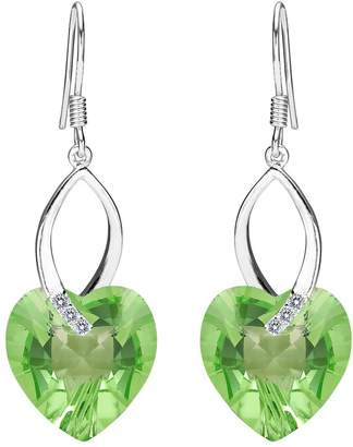 Swarovski EleQueen 925 Sterling Silver CZ Love Heart French Hook Dangle Earrings Adorned with Crystals