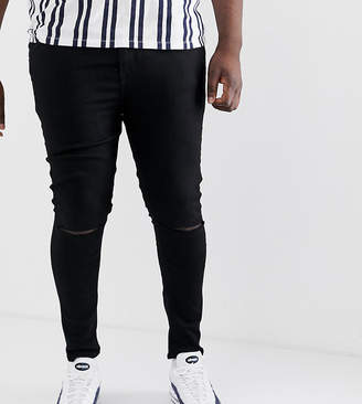 Asos Design DESIGN Plus spray on jeans in power stretch denim in black with knee rip