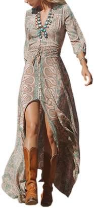 Naliha Womens Bohemian Dress Floral 3/4 Sleeve High Slit Swing Maxi Dresses M