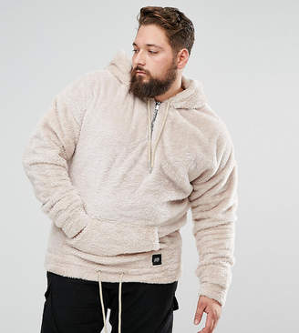 Asos Sixth June Hoodie In Stone Fluffy Borg exclusive to