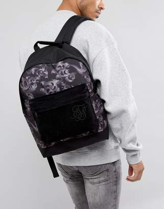 SikSilk backpack in black with baroque print