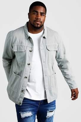 BEIGE BoohoomanBoohooMAN Mens Big & Tall Cotton Twill Utility Overshirt,
