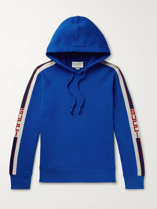 Gucci Webbing-Trimmed Loopback Cotton-Jersey Hoodie - Men - Blue