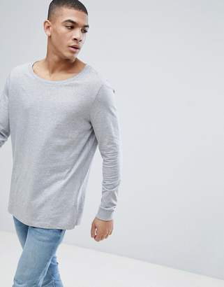 Asos Design DESIGN longline long sleeve t-shirt with scoop neck in grey