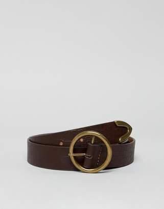 Asos DESIGN circle tipped jeans belt in croc