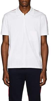 Thom Browne Men's Striped Cotton Polo Shirt - White