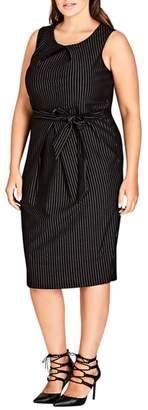 City Chic Aster Stripe Sheath Dress