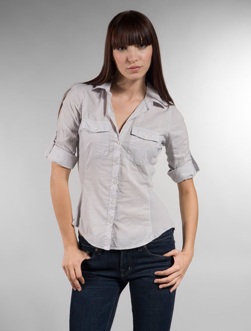 James Perse Classic Contrast Panel Button Front Shirt in Oyster