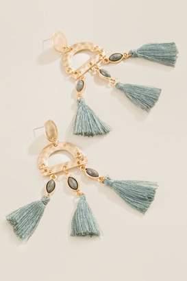francesca's Olivine Tassel Earrings - Olive