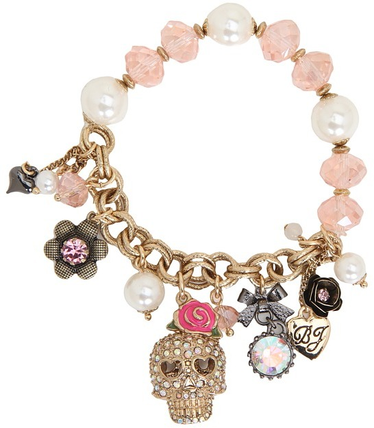 Betsey Johnson Classic Replen Skull Charm Half Stretch Bracelet (Pink) - Jewelry