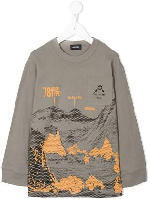 Diesel mountains print longsleeved T-shirt