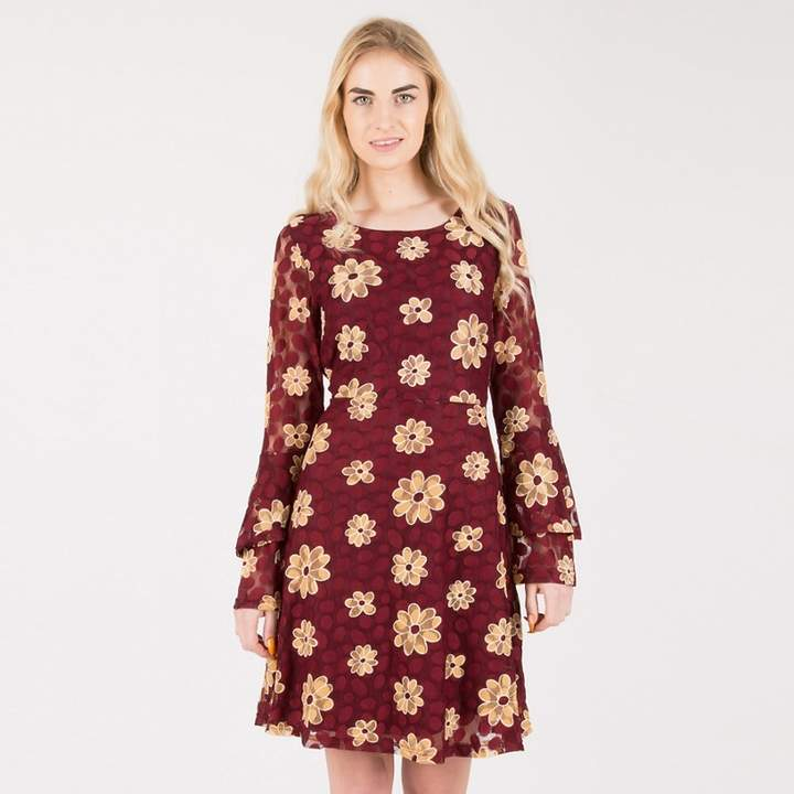 Tenki - Maroon Full Sleeve Floral Patterned Dress