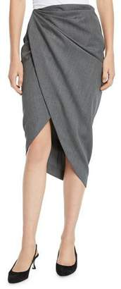 Helmut Lang Draped Wool High-Low Pencil Skirt